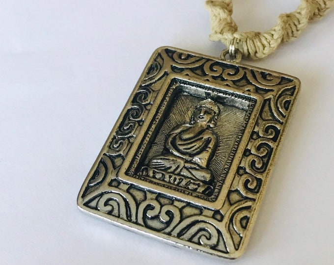 Reversible Buddha Pendant on Handmade Hemp Necklace