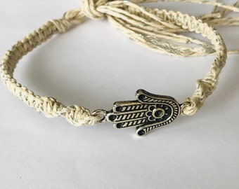 Hamsa Hemp Bracelet with Metallic Hemp