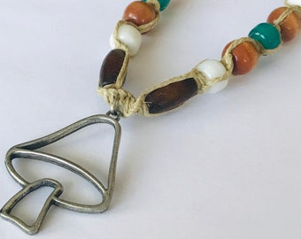 Peace Sign Cut Out Hemp Necklace