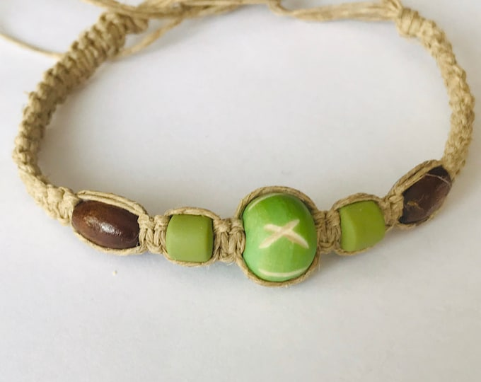 Hemp Bracelet with Green Beads