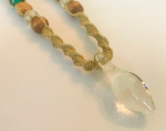 Handmade Hemp Necklace with Hand Blown Mushroom Pendant