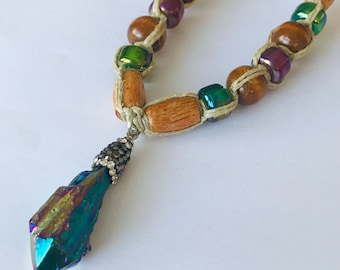 Handmade Hemp Necklace with Rainbow Crystal Pendant
