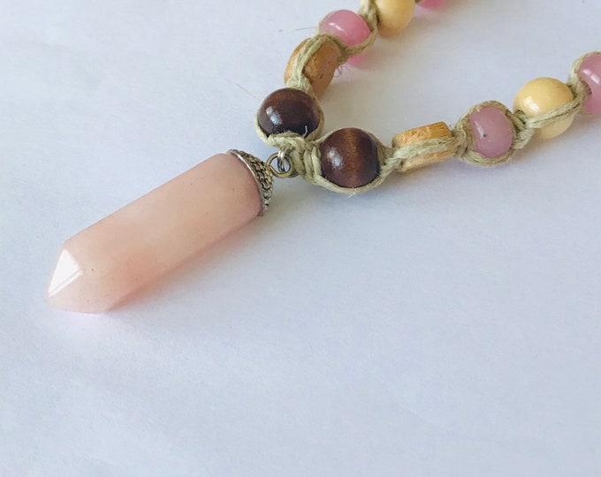 Handmade Hemp Necklace with Pink Stone Pendant Boho Hippie
