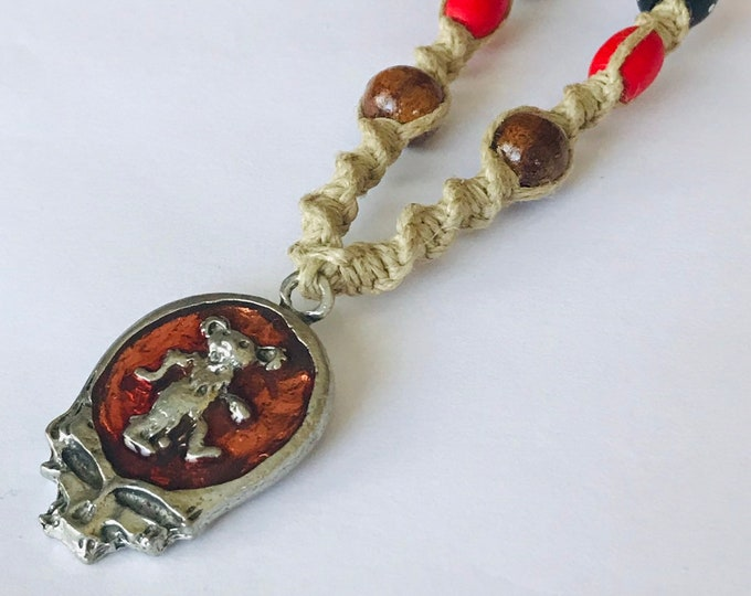 Steal Your Face Skull Pendant on a Handmade Hemp Necklace