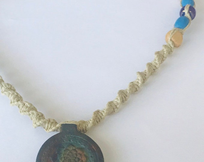 Matte Raku Peruvian Lotus Pottery Pendant on Handmade Hemp Necklace