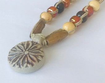 Handmade Hemp Necklace with Lotus Peruvian Pendant