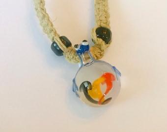 Handmade Hemp Necklace Frog and Mushroom Glass Pendant