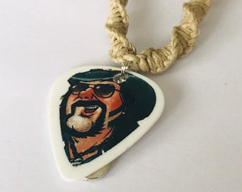 Reversible Dimebag Darrell Pantera Guitar Pick Hemp Necklace