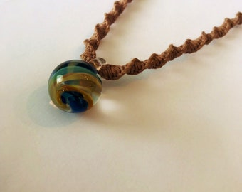 Round Blown Glass Pendant on Brown Handmade Hemp Necklace
