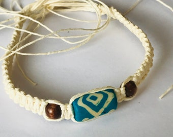 White Hemp Bracelet with Blue Bead