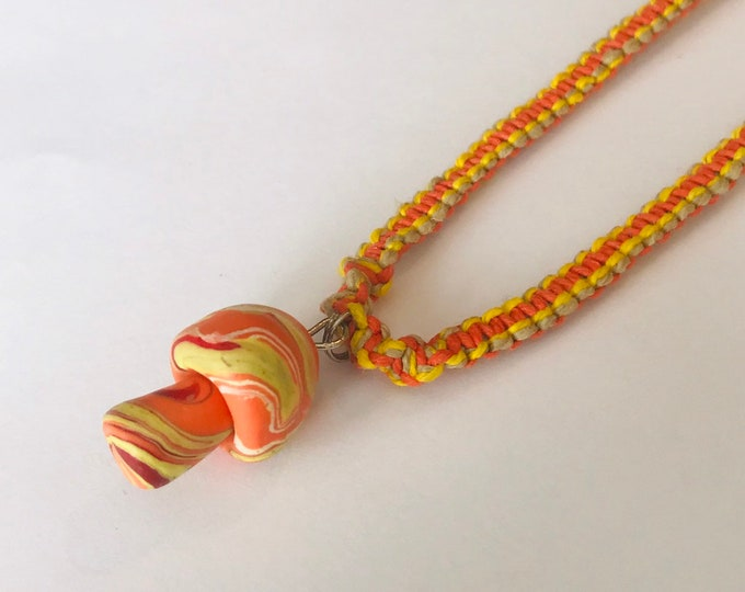 Handmade Hemp Necklace with Fimo Clay Mushroom Orange/Yellow