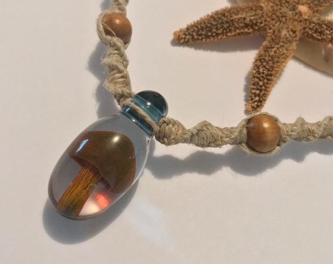 Blown Glass Mushroom Pendant on Handmade Hemp Necklace