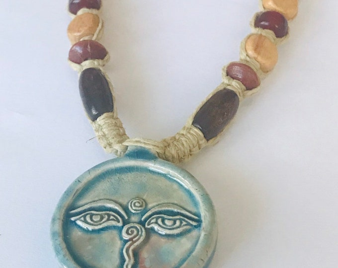 Buddha Eyes Raku Hemp Necklace