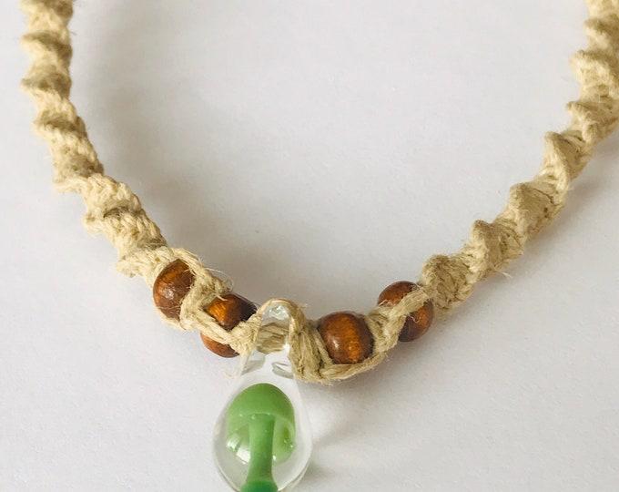 Small Green Hand Blown Glass Mushroom on Handmade Hemp Necklace