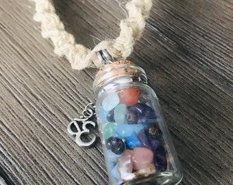 Handmade Hemp Necklace with Stone Vial Ohm