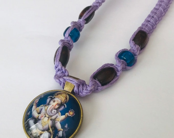 Ganesha Cabochon Handmade Purple Hemp Necklace