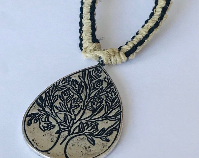 Tree of Life Black and Natural Hemp Necklace
