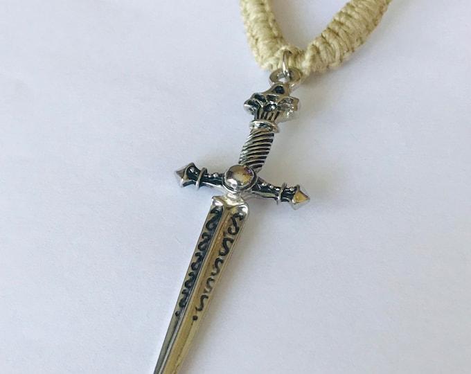 Handmade Hemp Necklace with Sword Pendant