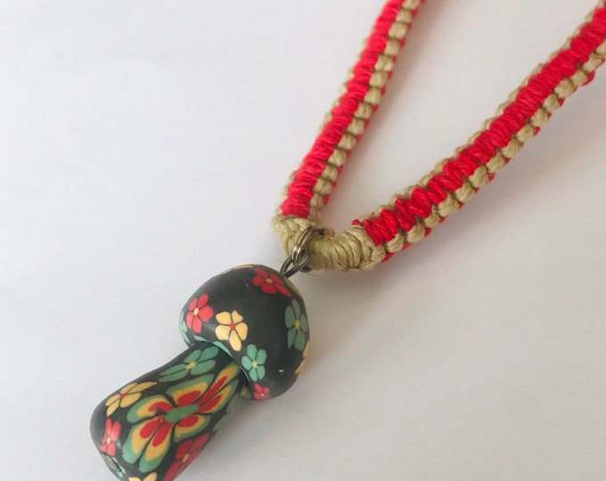 Rasta Mushroom on Natural and Red Handmade Hemp Necklace