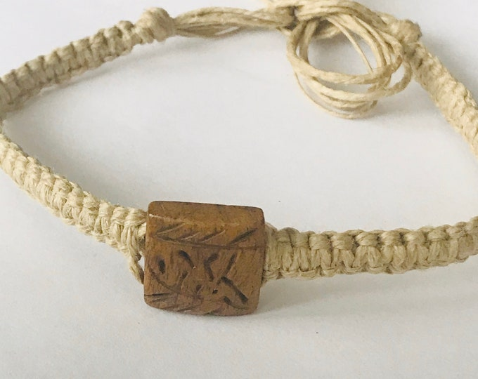Handmade Hemp Bracelet with Flat Tile Bone Bead
