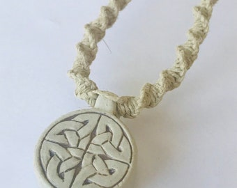 Handmade Hemp Necklace with High Fired Tribal Pendant