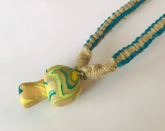 Handmade Hemp Necklace with Mushroom Pendant
