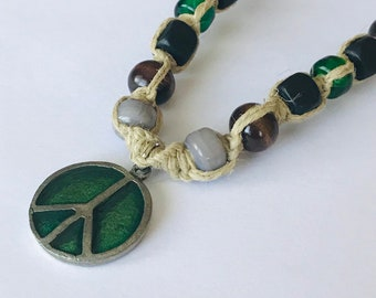 Peace Sign Charm on Handmade Hemp Necklace