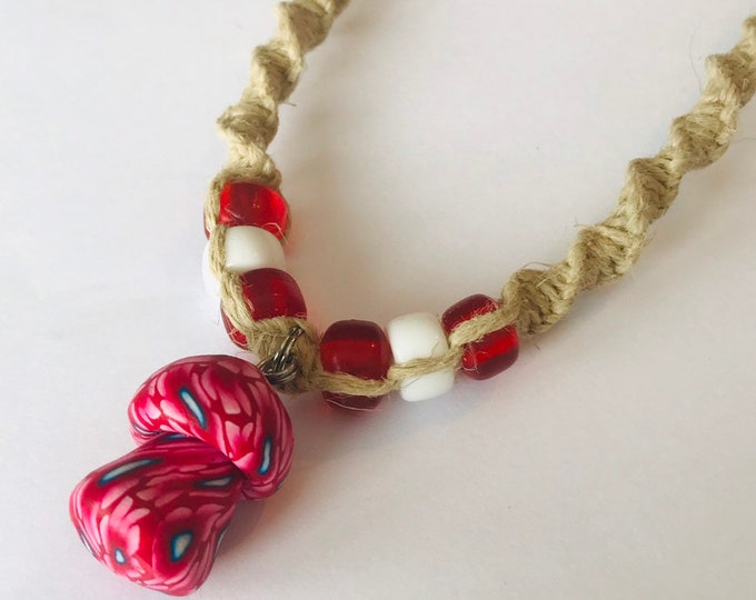 Fimo Clay Mushroom on Handmade Hemp Necklace Red