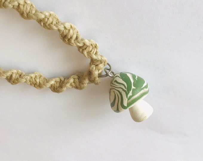 Mushroom Pendant on Handmade Hemp Necklace