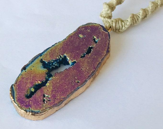 Handmade Hemp Necklace with Rainbow Agate Stone Pendant