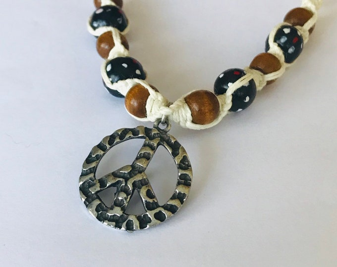 Pewter Peace Sign Hemp Necklace
