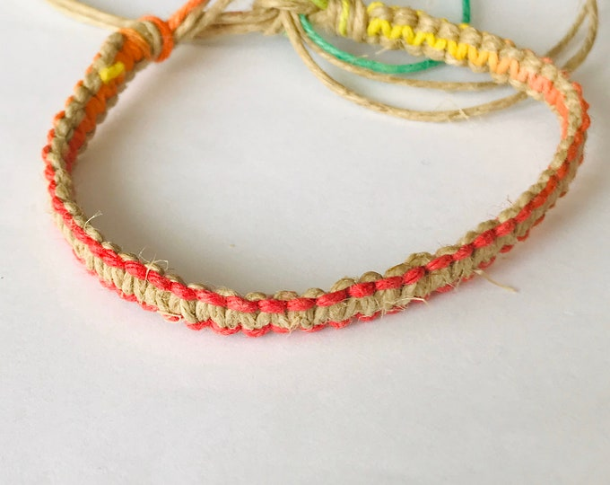 Handmade Natural and Rainbow Hemp Bracelet