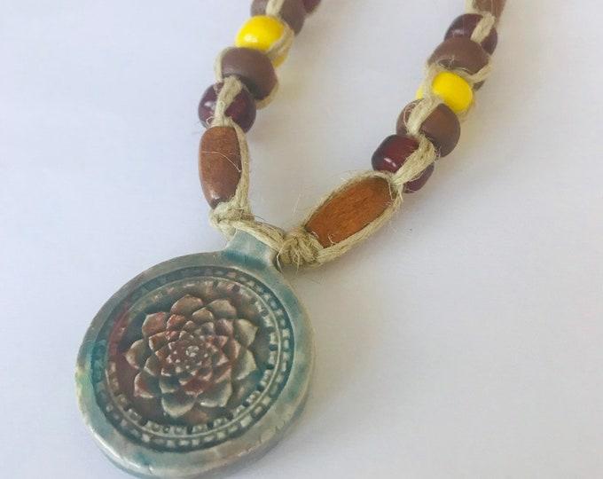 Raku Lotus Handmade Hemp Necklace Red Yellow