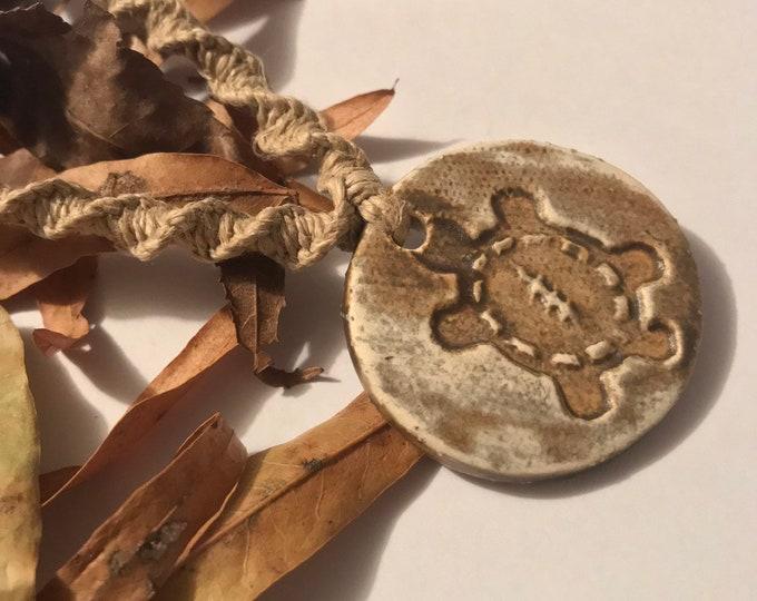 Terrapin Grateful Dead Pottery Pendant on Handmade Hemp Necklace