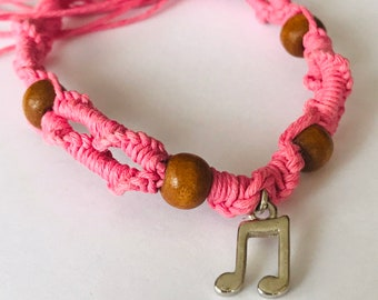 Pink Musical Note Hemp Bracelet
