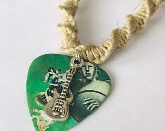 Queen Guitar Pick Hemp Necklace Handmade