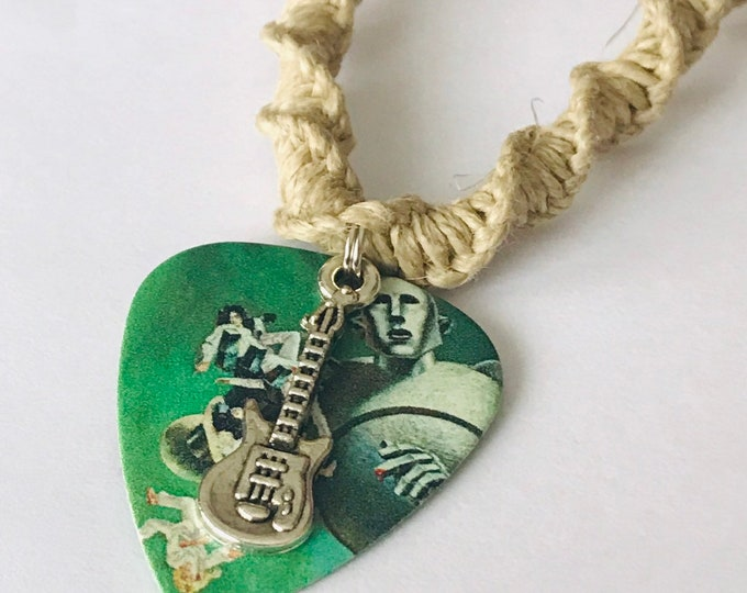Queen Guitar Pick Hemp Necklace Handmade