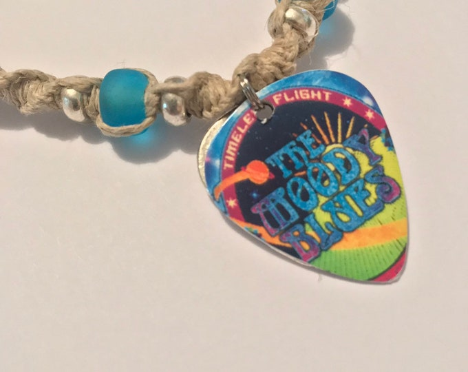 Handmade Moody Blues Band Guitar Pick Pendant Hemp Necklace