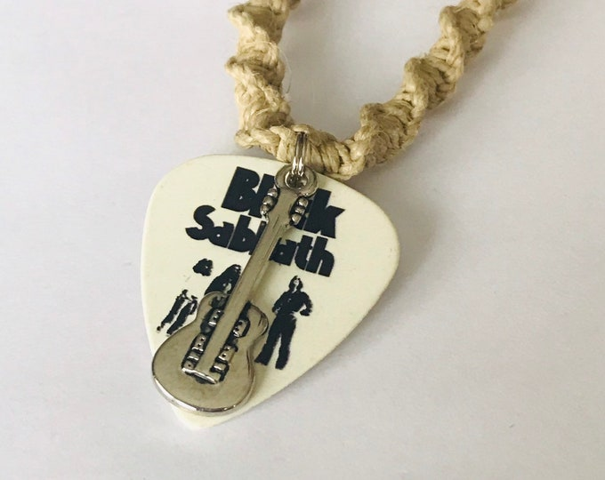 Black Sabbath Guitar Pick Pendant on Handmade Hemp Necklace