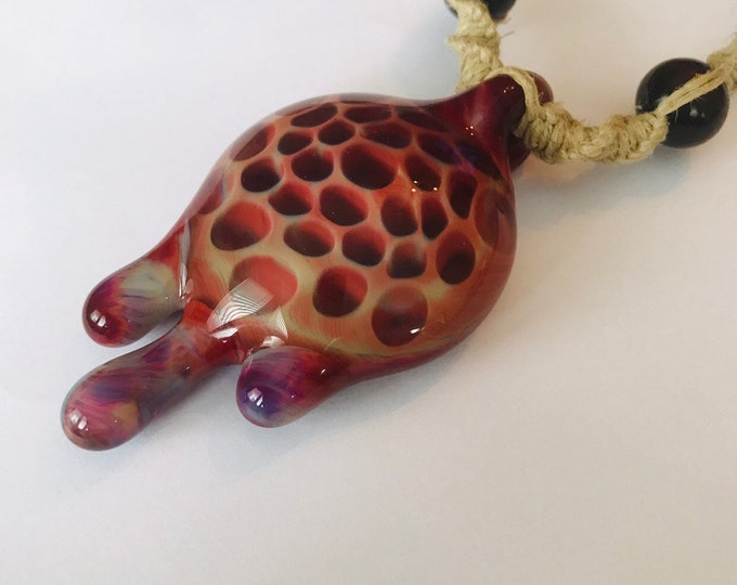 Large Hand Blown Glass Dripping Melting Pendant on Handmade Hemp Rope Necklace