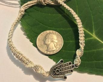 Hamsa Hemp Bracelet with Metallic Hemp