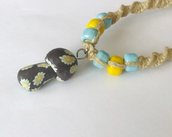 Handmade Hemp Necklace with Clay Mushroom Pendant