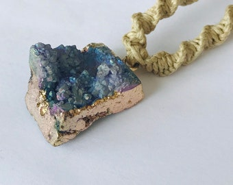 Handmade Hemp Fuzzy Necklace Druzy