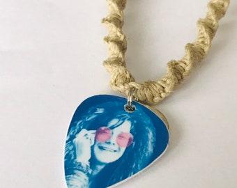 Janis Joplin Guitar Pick Handmade Hemp Necklace