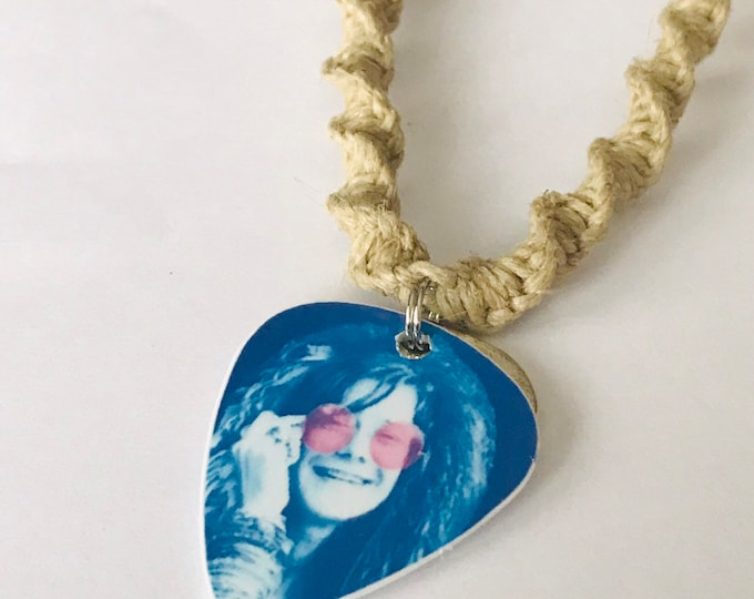 Janis Joplin Guitar Pick Handmade Hemp Necklace