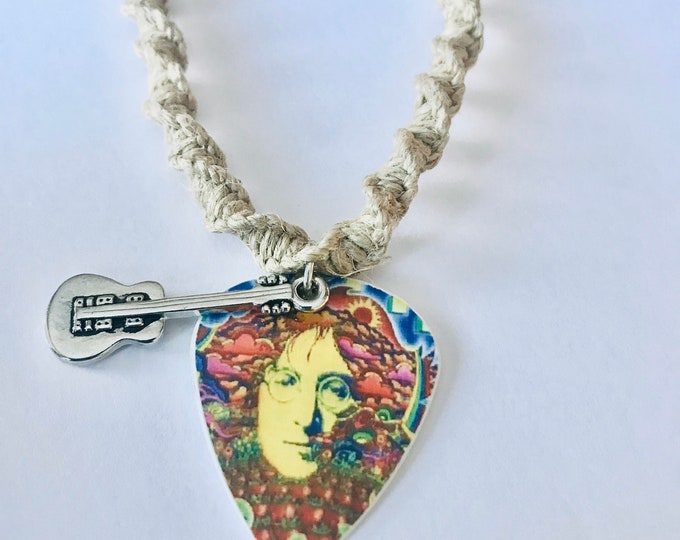 Handmade Hemp Necklace with Beatles John Lennon Guitar Pick