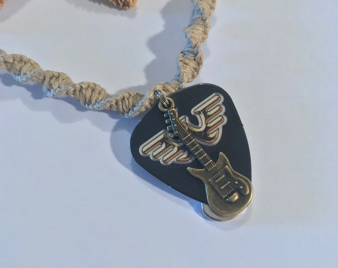 Waylon Jennings Guitar Pick Hemp Necklace