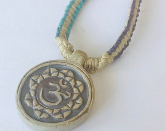 High Fired Peruvian Ohm and Lotus Hemp Necklace Multi-Colored
