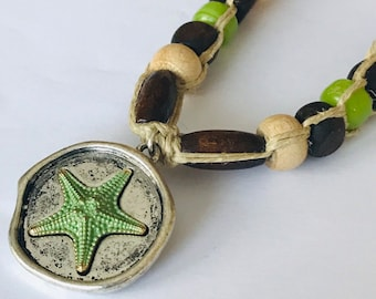 Starfish Pendant on Handmade Hemp Necklace