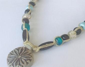 Lotus Flower Handmade Hemp Necklace